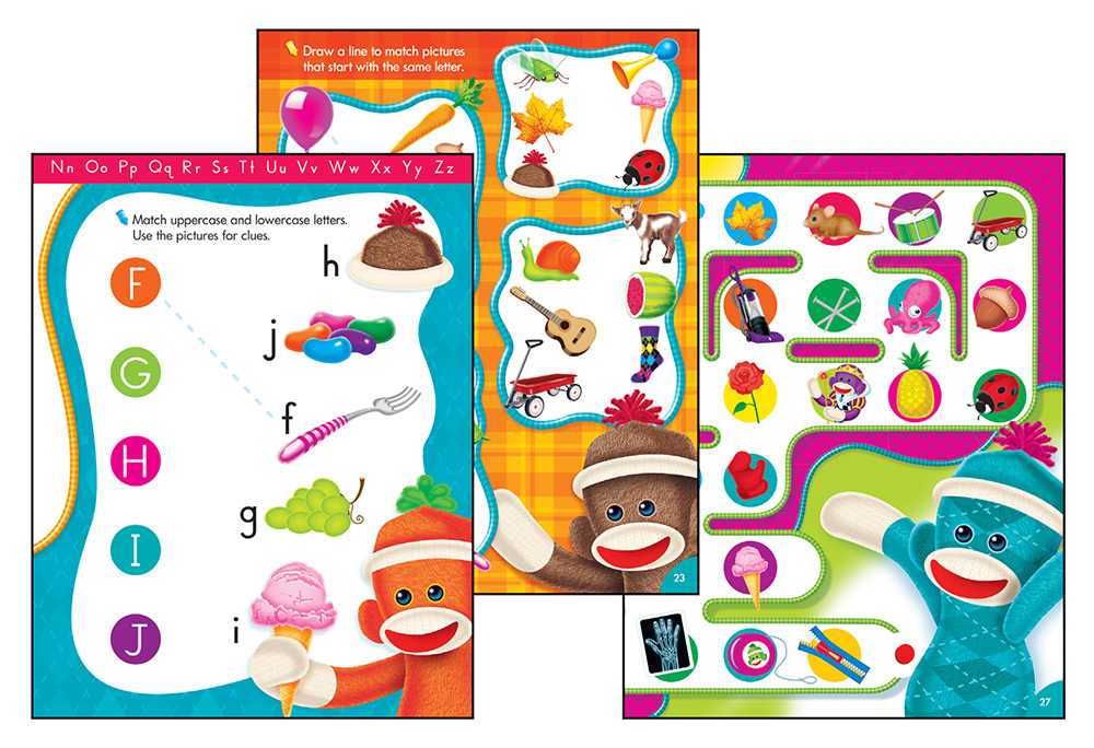Trend Alphabet Fun Sock Monkeys Wipe-Off® Book T-94118