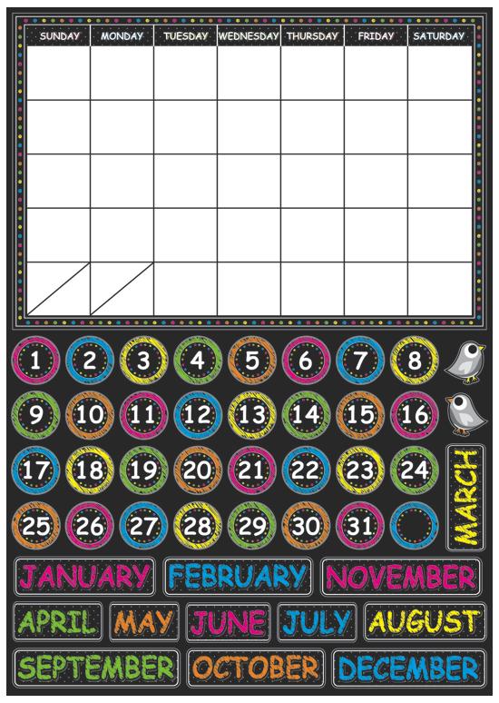 Magnetic Chalk Calendar UPC 703185770033