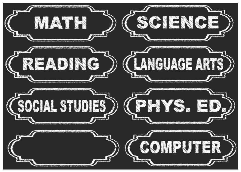 Magnetic Chalkboard Class Subjects UPC 703185190039