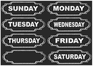 Magnetic Chalkboard Days of Week UPC 703185190022