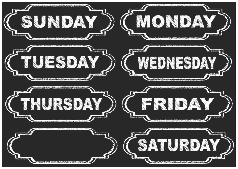 magnetic chalkboard days of week upc 703185190022
