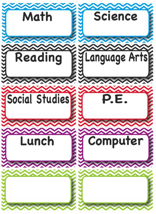 classroom subjects magnetic whiteboard chevron theme splash