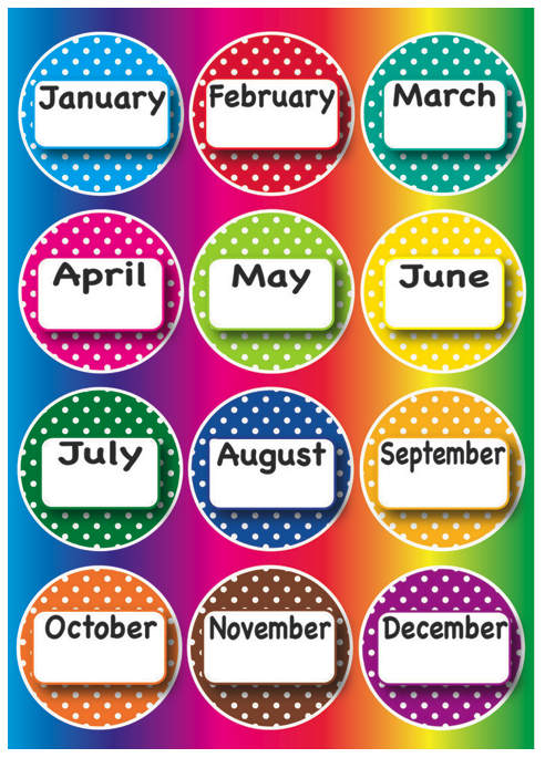 Months Of The Year Magnetic Whiteboard Polka Dot Theme