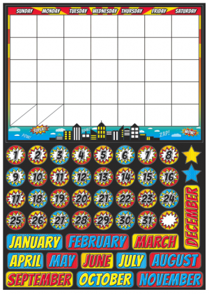 Magnetic Superhero Calendar Set UPC 703185770026