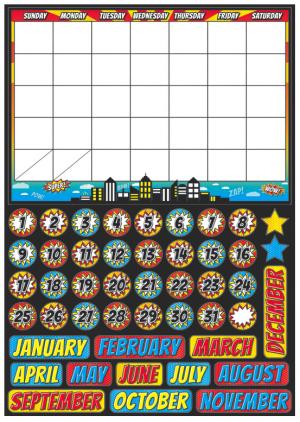 Magnetic Superhero Calendar Set UPC 703185770026